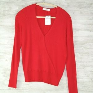 Elodie Wrap Sweater Red Ribbed Womens Long Sleeve